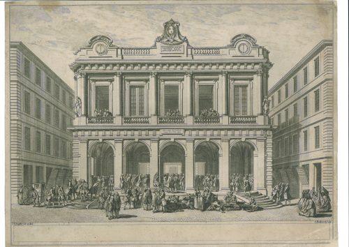 Gravure de Bellicard montrant le dessin de Soufflot, avec ses deux horloges © Archives municipales de Lyon