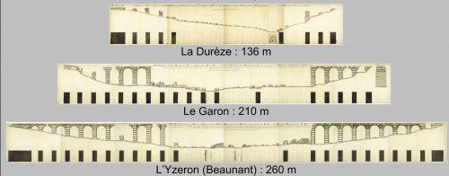 Montages des dessins des trois ponts-siphons de l'aqueduc du Gier (4, 6 et 8 feuilles) © Archives municipales de Lyon