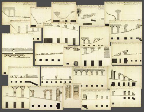 Vingt-quatre des 118 feuilles de l'aqueduc du Gier © Archives municipales de Lyon