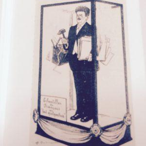 Caricature représentant Herriot (jeune) avec la légende suivante (Échantillon du Français qui fait quelque chose) © Collection particulière Bruno Benoit