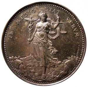 Jeton célébrant la liberté du courtage (1866) Par Guillaume BONNET (Argent, ø 36 mm) ©Collection privée