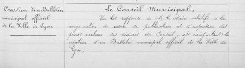 Extrait de la délibération du Conseil municipal de la Ville de Lyon le 8 février 1894 - AML 1217wp148