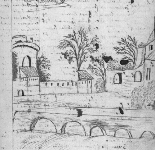 Un pont de 1763, fin de registre paroissial de 1763, paroisse Sainte-Croix.